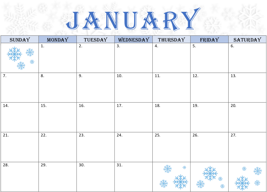 January Calendar – Snowflake Theme